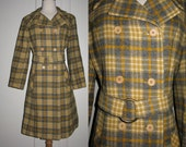 SALE SALE  Sophisticated Vintage Pendleton Double Breasted Plaid Wool Coat with Unusual Belt 1960s 1970s S/M