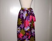 SALE SALE Vintage 1960s 1970s Beverly Vogue California Floral Hawaiian Style Wrap Front Cotton Skirt with Side Tie