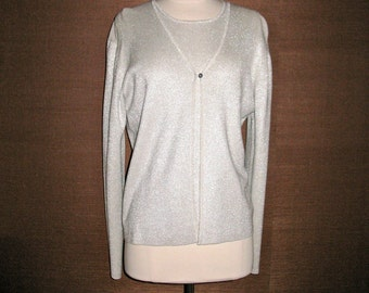 SALE SALE Vintage Neiman Marcus Designer Silver Silk Sweater Set for Holiday Party Wedding Never Worn