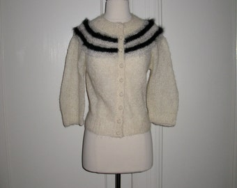 Vintage 1960s Cardigan Winter White with Black Silver and Gray Stripes Sheer Handknit