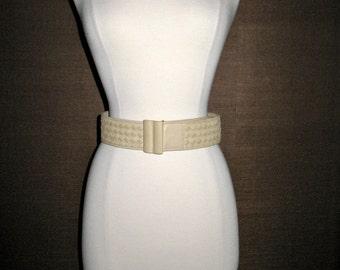 SALE SALE Vintage Italian Luxury Designer Bottega Veneta Beige Tan Woven Leather Belt 85/70 28