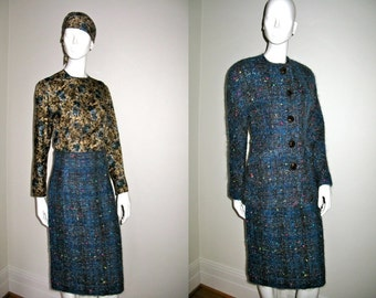 Vintage 1980s Koos Van Den Akker Skirt Suit with Stunning Fabric Gorgeous Buttons Floral Blouse and Scarf