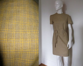 Vintage 1970s Pendleton Yellow Plaid Short Sleeve Dress