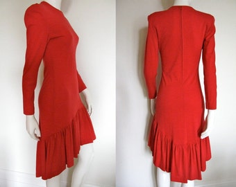 Stunning Vintage 1980s Patrick Kelly Red Dress with Long Sleeves and Asymmetrical Hem Great Holiday Dress