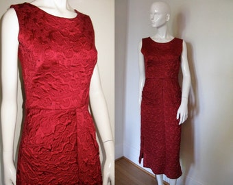 Vintage 1940s 1950s Red Satin Dress with Ruby Rhinestones and Side Ruching Detail Bombshell Wiggle Dress