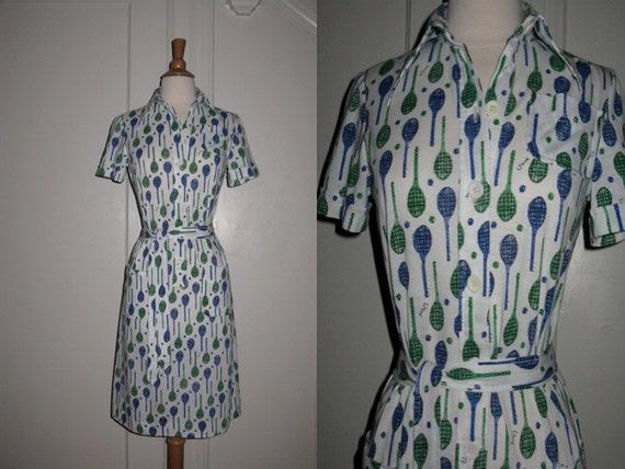 Adorable Vintage Vera Neumann Day Dress Short Sleeve Tennis Racket Print 1970s S/M