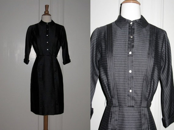 Vintage 1950s Carlye Charcoal Gray Pinstripe Dress with Rhinestone Buttons Very Fitted Wiggle Dress XS/S