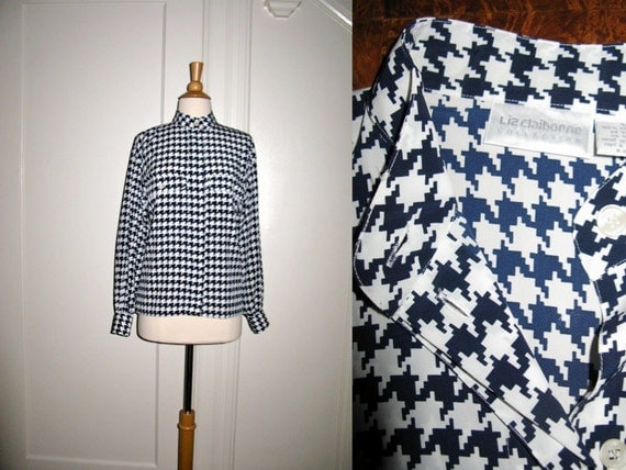 CLEARANCE Vintage Liz Claiborne Houndstooth Blouse Navy and White Check Stunning and Stylish