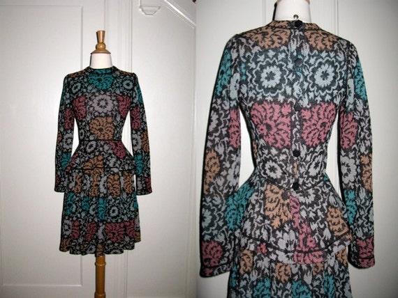 Vintage Missoni Floral Skirt Sweater Outfit Dress Back Button Detail Flounce Waist Authentic Orange Label Size Small