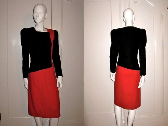 Vintage 1980s Carolina Herrera Designer Black Velvet and Red Wool Crepe Dress