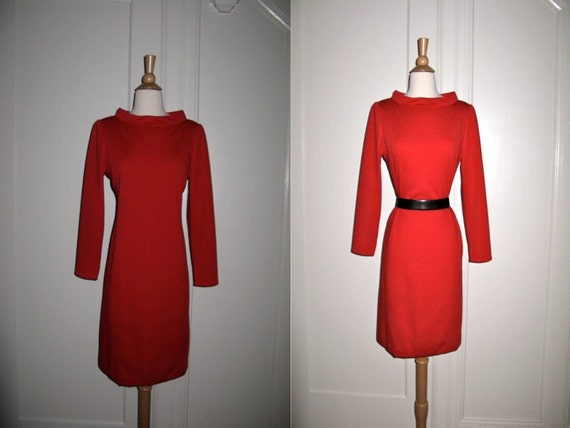 Timeless Carolina Herrera Red Wool Dress with Long Sleeves and Exaggerated Neckline