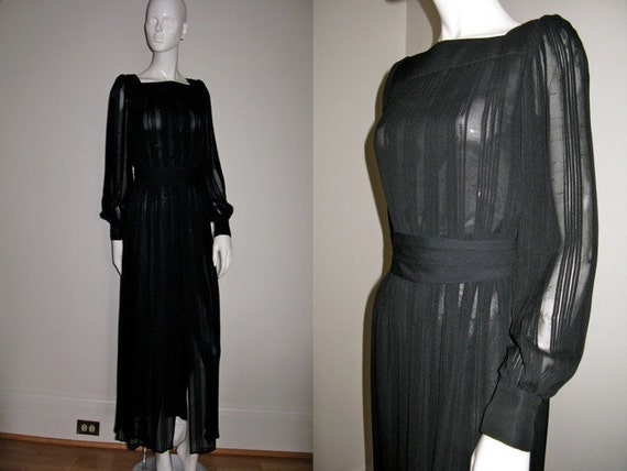 Vintage Custom Made Black Pleated Sheer Maxi Dress Formal Evening Gown with Front Slit Cummerbund and Square Neck