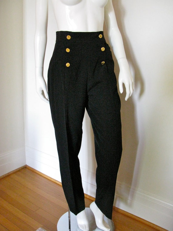 Vintage 1970s 1980s chanel boutique black pants slacks sailor for I see both sides like chanel shirt