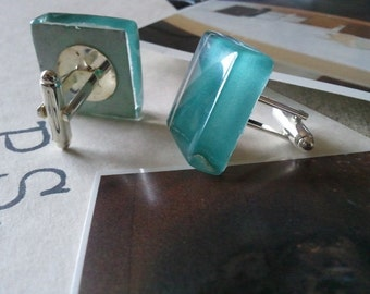 Upcycled Teal Glass Tile Cufflinks