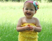 Yellow Petti Romper and lace flower headband