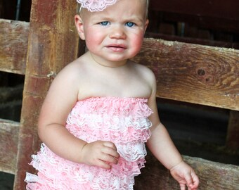 Light Pink and White Romper and lace flower headband or clip