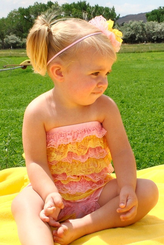 Petti Romper - Light Pink and Yellow