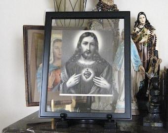 Vintage Sacred Heart Jesus Framed Picture Circa 1900's