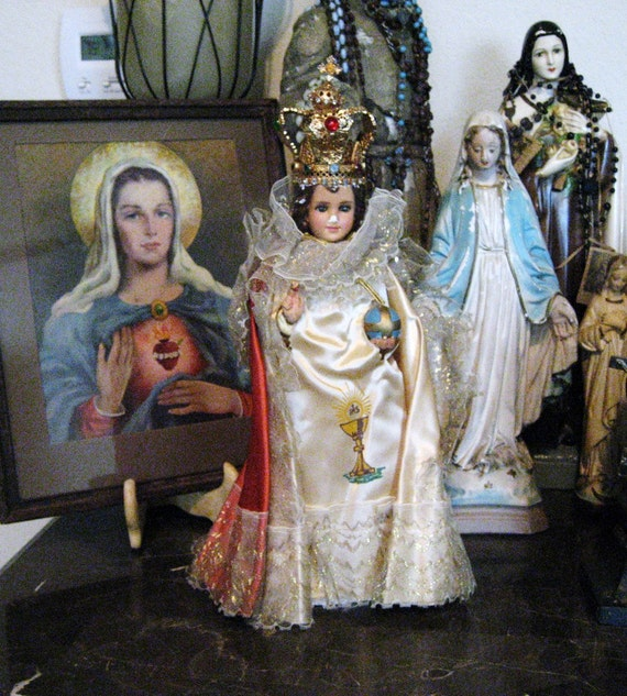 Vintage Infant of Prague Statue with Jeweled Crown Chalkware