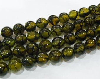 Glass Veined Beads- 1/2 strands