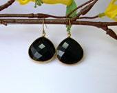 Black Onyx Earrings with Vermeil Bezel Rim and 14K Gold Filled Earwires - CLEARANCE SALE
