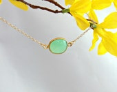 RESERVED for DAYA - Vermeil Bezel Set Yellow Chalcedony Pendant & Gold Filled Necklace