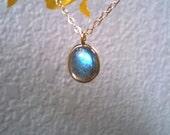 Vermeil Bezel Labradorite Pendant & Gold Filled Necklace