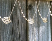 Fall Wedding, SET OF 4, Gold Leaf Necklace with Freshwater Pearls, Wedding Jewelry