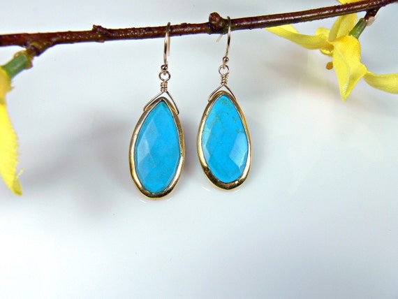 Teardrop Turquoise Earrings with Vermeil Bezel Set and 14k Gold Filled Earwires