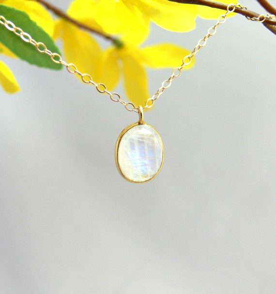 Vermeil Bezel Moonstone Pendant & Gold Filled Necklace - LAST ONE
