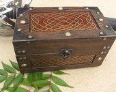 GOLDEN CELTIC KNOTWORK Hand Painted Wooden Chest Size Medium