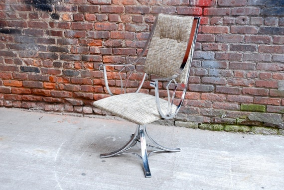 Reserved For Jasmine Chrome Swivel Chair With New Upholstery