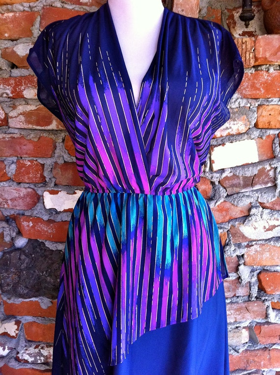70's Disco color & print dress