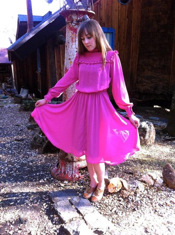 1970's hot pink ruffle prairie dress