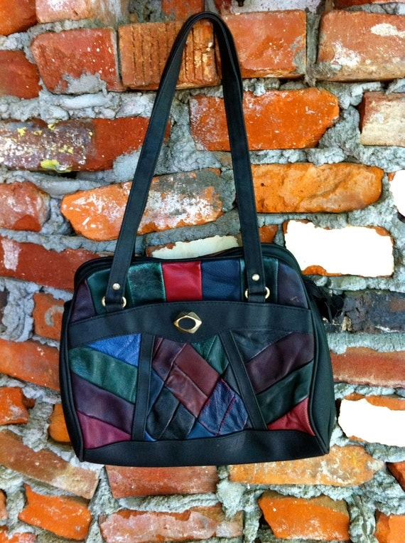 1980's Leather Patchwork Purse