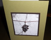 Thank you card set with silver leaf embellishment