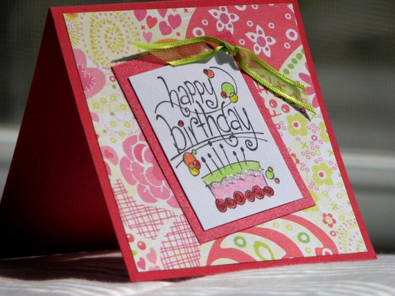 Perky Red & Pink Birthday Greeting Card
