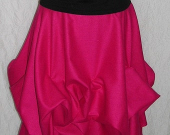 Hot Pink For Hot Summer Nights Fuchsia Silk Noil Skirt
