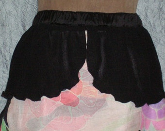 Black Crinkle Silk Skirt with Attached Peplum