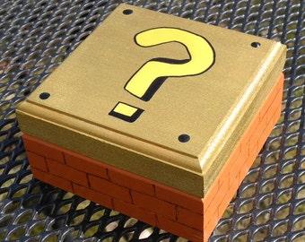 Super Mario Brothers, Nintendo, wooden Brick box,luigi,80's,classic