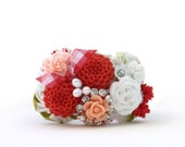 Peachy Keen Cuff Bracelet in Coral, Peach and White, Rhinestones, One of a Kind, Unique, Jewelry