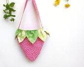 Girls Strawberry Tote, Purse, Bag, Handbag, Pink, Green, Polka Dot, Children, Kids