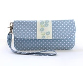 Wristlet Clutch/ Blue Polka Dos/ Wristlet Clutch/Floral/Purse/Women's Wallet