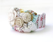Pastel Floral Cuff Bracelet with White Roses, White Flowers, Rhinestones, Gold and Pearls