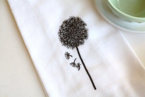 Tea Towel Kitchen Home Decor Flour Sack Towel Dandelion