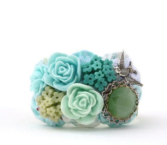 Bird Garden Cuff Bracelet in Aqua Blues, Teals and Greens