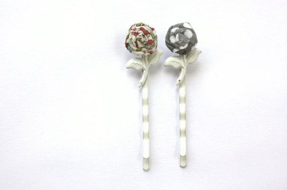 Hair Accessories, Rose Bobby Pin Set, Gray, Red, White Metal Rose Stem