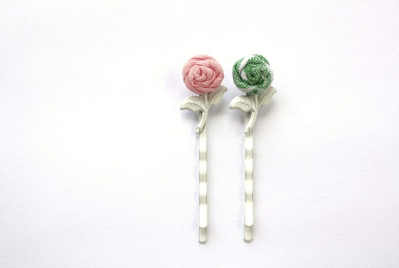 Hair Accessories, Bobby Pin Set, Pink, Green, Fabric Roses, White Metal Bobby Pins