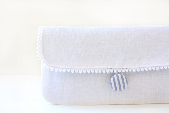 White Linen Wristlet Clutch, Removable Strap, Blue and White Stripes, Covered Button
