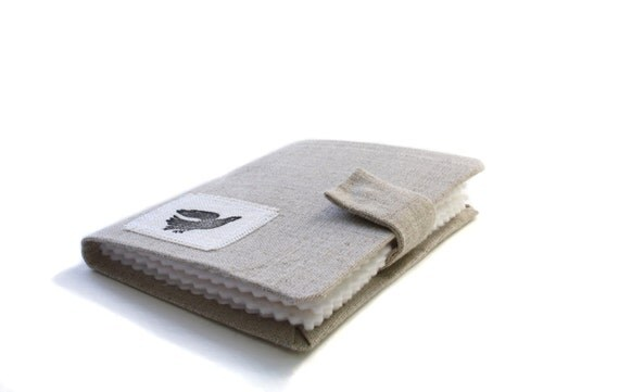 Needle Case Book, Natural Linen Fabric with Bird, Sew, Organize, Craft